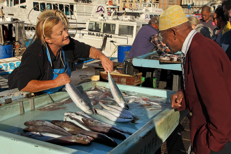 city fish market: FRANCE, MARSEILLE -November 19, 2015: The buyer at the fish market in Marseille.  Old Port of Marseille (Vieux-Port), Marseille is Frances largest city on the Mediterranean coast and largest commercial port. November 19, 2015.