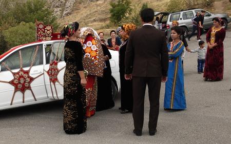 Kov-Ata, Turkmenistan - October 18: Turkmen national wedding in the village of Kov-Ata. Kov-Ata, Turkmenistan - October 18.