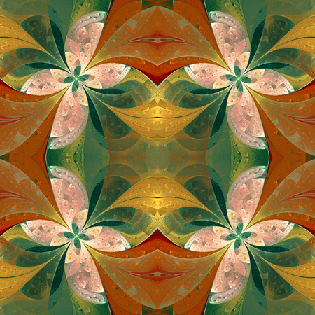 window glass: Beautiful symmetrical pattern in stained-glass window style. Green and beige. Artwork for creative design, art and entertainment. Stock Photo