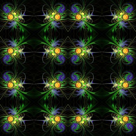 carpet and flooring: Flower background in fractal design. Blue and orange palette. On black. Computer generated graphics.