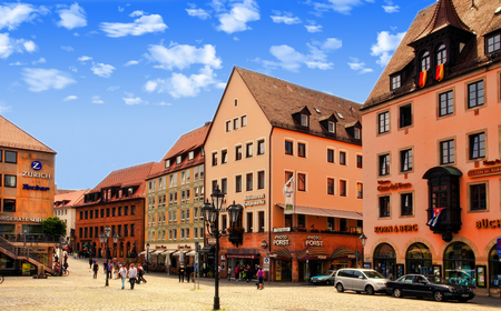 hauptmarkt: NURNBERG, GERMANY - JULY 13 2014: Hauptmarkt, the central square of Nuremberg, Bavaria, Germany.  Nuremberg accommodates annually more than 2 millions tourists