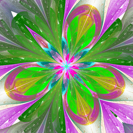 puzzle corners: Beautiful fractal flower or butterfly in stained glass window style. Element of decor. Green and purple. Artwork for creative design, art and entertainment. Stock Photo