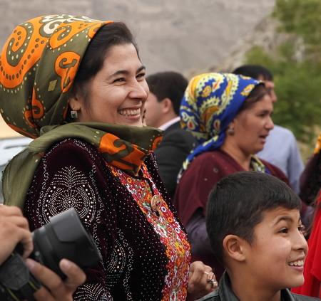 Kov-Ata, Turkmenistan - October 18: Portrait of unidentified  Asian woman in a headscarf. Kov-Ata, Turkmenistan - October 18. 2015.