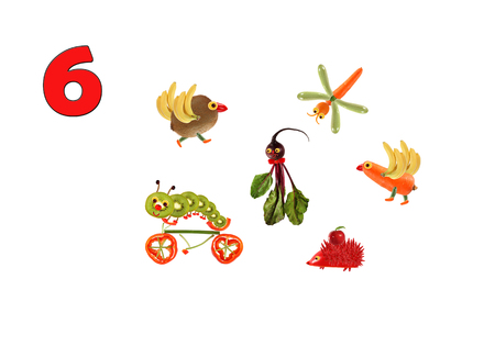 eat healthy: Learning to count. Cartoon figures of vegetables and fruits, as an illustration of mathematical education for children of preschool age.