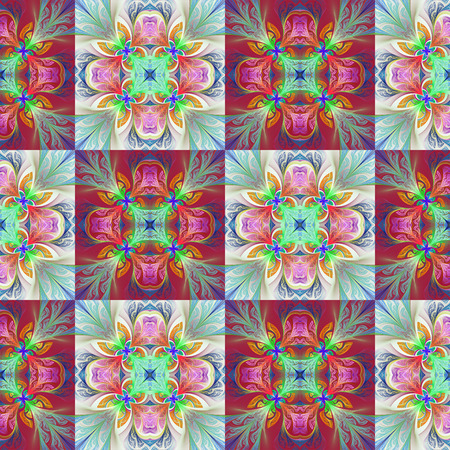 bedspread: Two-tone seamless flower pattern in stained-glass window style. You can use it for invitations, notebook covers, phone case, postcards, cards, wallpapers and so on. Artwork for creative design, art and entertainment. Stock Photo
