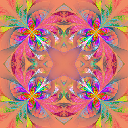 feelers: Symmetric multicolored fractal tracery. Collection - frosty pattern. On pink.