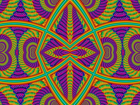 symmetrical: Multicolored Symmetrical Textured Background with Spirals. Computer generated graphics.