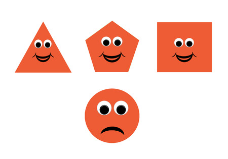 basic shapes: Illustration of shapes with a happy cartoon face, great for kids learning basic geometry Stock Photo