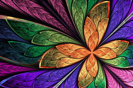 fractal background: Beautiful multicolored fractal flower or butterfly in stained glass window style. Computer generated graphics.