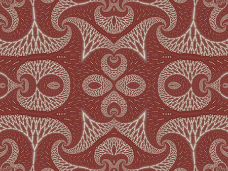 tapis: Symmetrical Textured Background with Spirals. White and vinous palette. Computer generated graphics.
