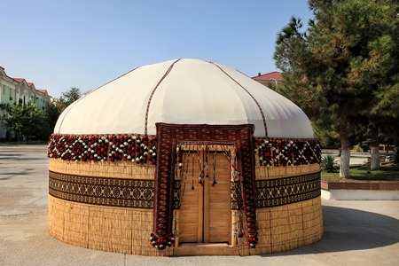 Turkmen ethnic nomadic yurt-building, built for the celebration of Novruz. Decorated in a traditional style.