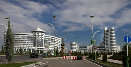 martial ways: Ashgabat, Turkmenistan - October 20, 2015:  Part of the sport complex.  5 th Asian Indoor Games and martial arts, which will be held in Ashgabat (Turkmenistan) in 2017, from September 15 to 24. Ashgabat, Turkmenistan - October 20, 2015.
