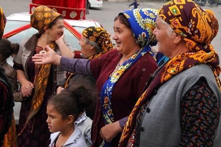Kov-Ata, Turkmenistan - October 18: Portrait of unidentified  Asian women in a headscarf. Kov-Ata, Turkmenistan - October 18. 2015.