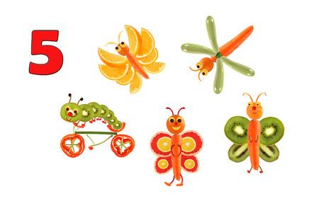 oruga: Aprender a contar. figuras de dibujos animados de verduras y frutas, como una ilustración de la educación matemática para los niños en edad preescolar.