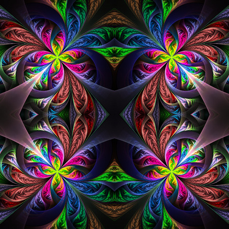 tracery: Symmetric multicolored fractal tracery. Collection - frosty pattern. On black. Stock Photo