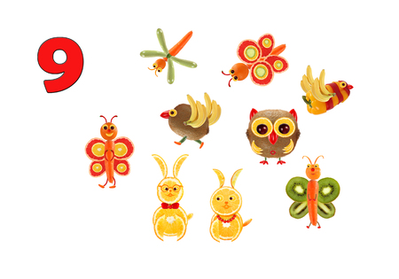 teach: Learning to count. Cartoon figures of vegetables and fruits, as an illustration of mathematical education for children of preschool age.