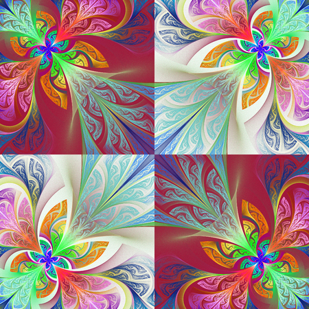 tapis: Two-tone flower pattern in stained-glass window style. You can use it for invitations, notebook covers, phone case, postcards, cards, wallpapers and so on. Artwork for creative design, art and entertainment. Stock Photo