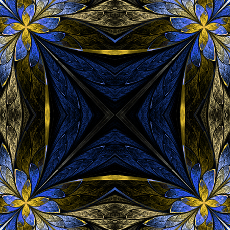 Symmetrical flower pattern in stained-glass window style on black. Beige and blue palette. Computer generated graphics. Stock Photo