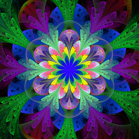 bedspread: Multicolored fractal flower in stained glass window style. Element of design. You can use it for invitations, notebook covers, phone case, postcards, cards and so on. Artwork for creative design. Stock Photo