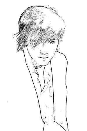 fiance: Stylish young man . Monochrome black image. Theme fashion. Portrait of beautiful man