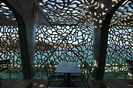 civilizations: MARSEILLE, FRANCE - October 19, 2015 : The modern building of Museum of European and Mediterranean Civilizations (MuCEM). It was  inaugurated on 2013 when the city was the European Capital of Culture