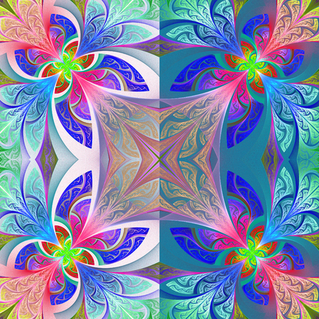 bedspread: Two-tone flower pattern in stained-glass window style. You can use it for invitations, notebook covers, phone case, postcards, cards, wallpapers and so on. Artwork for creative design, art and entertainment. Stock Photo