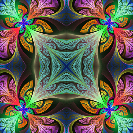 window case: Multicolored flower pattern in stained-glass window style. You can use it for invitations, notebook covers, phone case, postcards, cards, wallpapers and so on. Artwork for creative design, art and entertainment. Stock Photo