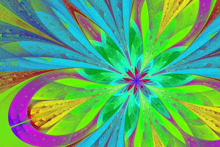 puzzle corners: Multicolored fractal flower or butterfly in stained-glass window style. Artwork for creative design, art and entertainment.