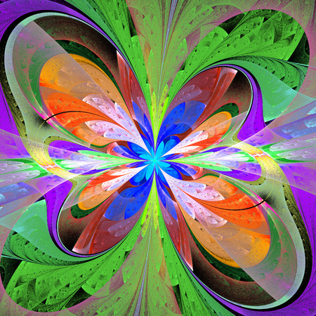 window case: Multicolored asymmetrical fractal flower in stained glass window style. Element of design. You can use it for invitations, notebook covers, phone case, postcards, cards and so on. Artwork for creative design. Stock Photo