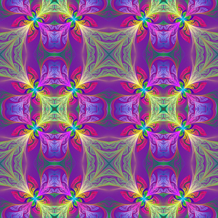 bedspread: Multicolored seamless flower pattern in stained-glass window style.