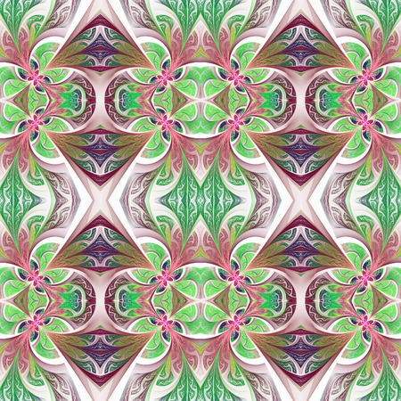 carpet and flooring: Symmetrical flower pattern in stained-glass window style. Green and purple palette.