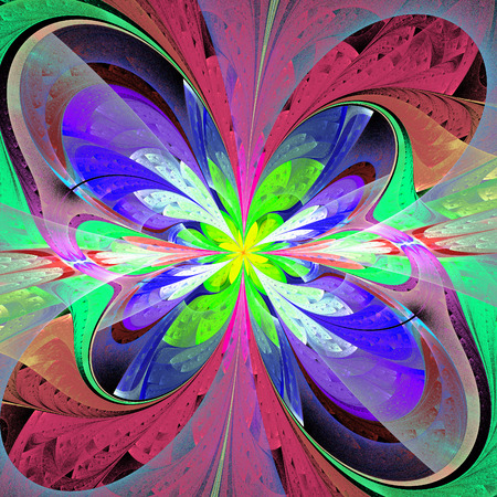bedspread: Multicolored asymmetrical fractal flower in stained glass window style. Stock Photo