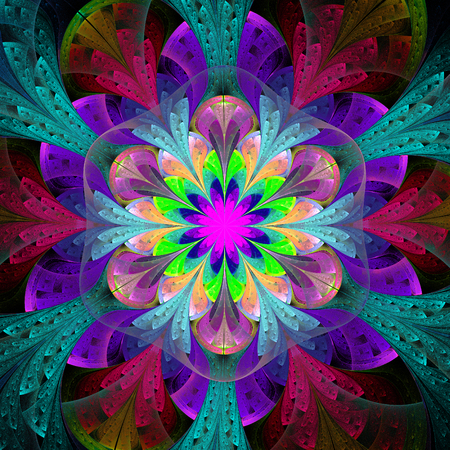 bedspread: Multicolored fractal flower in stained glass window style. Element of design.