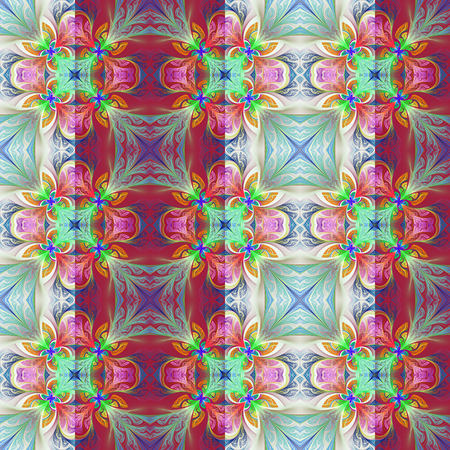 bedspread: Two-tone seamless flower pattern in stained-glass window style.