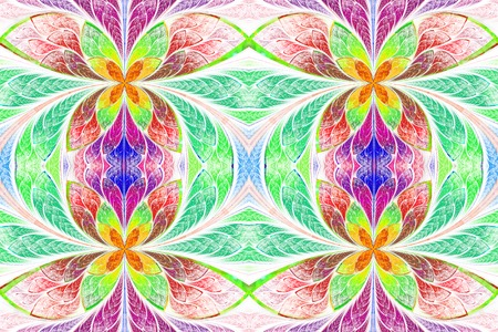 symmetrical: Multicolored symmetrical pattern in stained-glass window style.