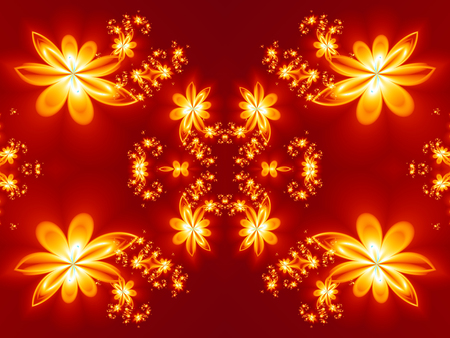 abstract fire: Flower fire pattern in fractal design. Artwork for creative design, art and entertainment.