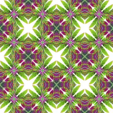 bedspread: Symmetrical seamless pattern of the leaves.