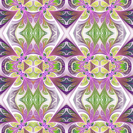carpet flooring: Symmetrical flower pattern in stained-glass window style. Stock Photo