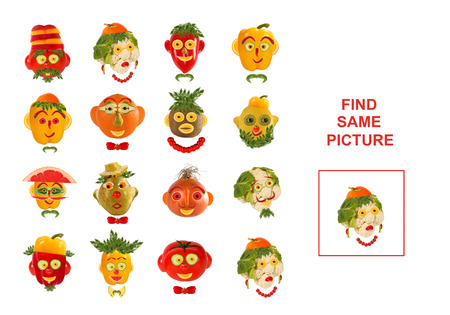 same: Cartoon  Illustration of Finding the Same Picture.  Educational Game for Preschool Children.