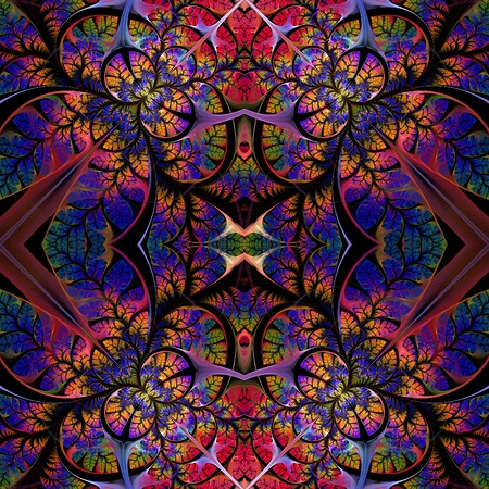 tapis: Symmetrical seamless pattern of the leaves.