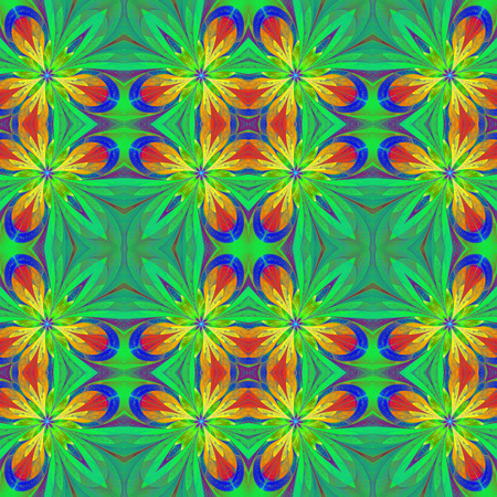 symmetrical: Multicolored symmetrical pattern in stained-glass window style on light. Stock Photo