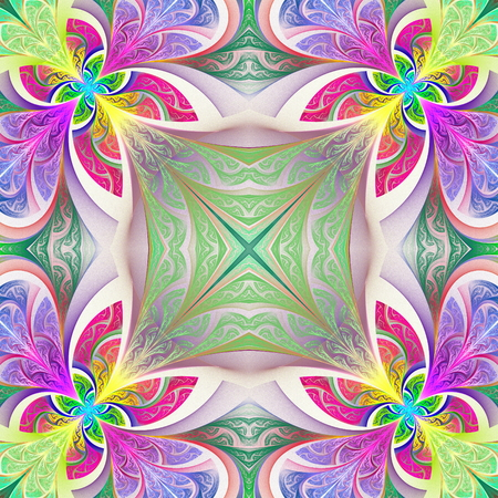 tapis: Multicolored flower pattern in stained-glass window style.