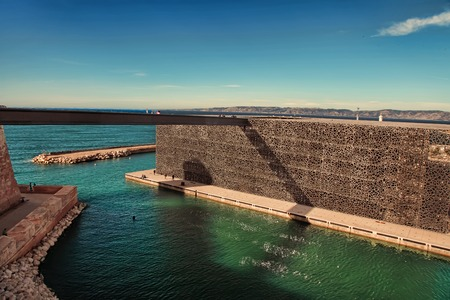 ethnology: MARSEILLE, FRANCE - October 19, 2015 : The modern building of Museum of European and Mediterranean Civilizations (MuCEM). It was  inaugurated on 2013 when the city was the European Capital of Culture