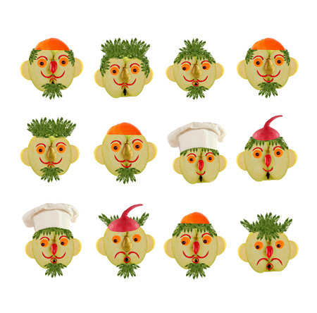 few: Creative set of food concept. A few  funny portraits from vegetables and fruits. Stock Photo