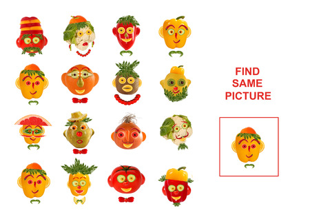 preschool children: Cartoon Illustration of Finding the Same Picture.  Educational Game for Preschool Children.