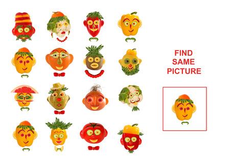 Ilustración de dibujos animados de encontrar la misma imagen. Juego educativo para niños en edad preescolar.