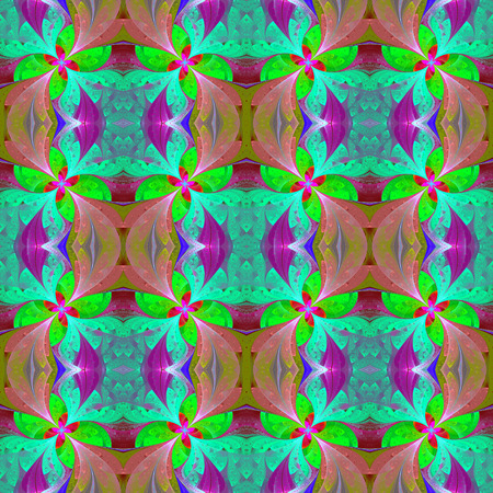 symmetrical: Multicolored beautiful symmetrical pattern in stained-glass window style.