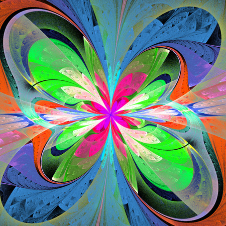 asymmetrical: Multicolored asymmetrical fractal flower in stained glass window style. Stock Photo
