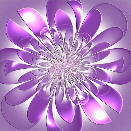 Beautiful lush fractal flower with embossed effect. Artwork for creative design, art and entertainment.