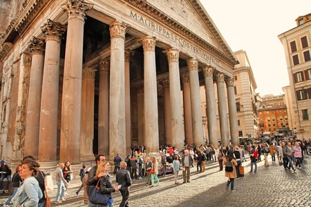 2nd century: ROME, ITALY - APRIL 9, 2016: Tourists visit the Pantheon on APRIL 9, 2016 in Rome, Italy. Pantheon is a famous monument of ancient Roman culture, the temple of all the gods, built in the 2nd century.